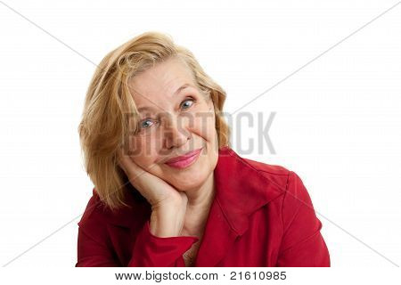 Senior Woman In Red Smiling On White Background
