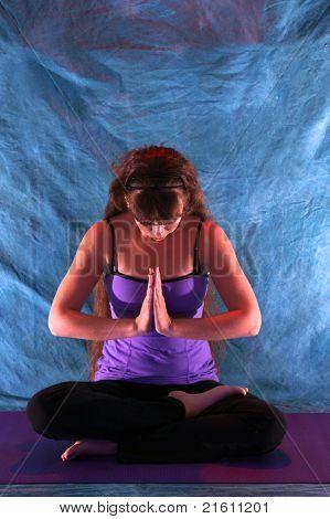 Woman In Half Lotus Yoga Prayer Position