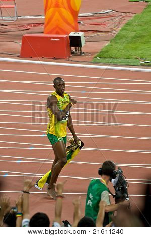 World's Fastest Man, Usain Bolt, Takes A Victory Lap