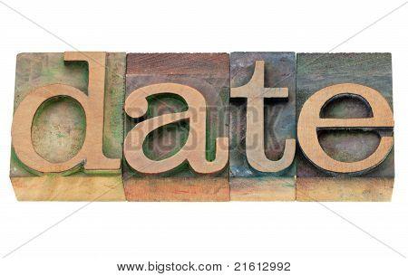 Palavra de data no tipo de tipografia