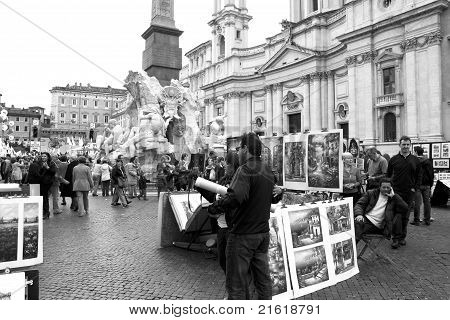 Painters And Tourists In Piazza Navona