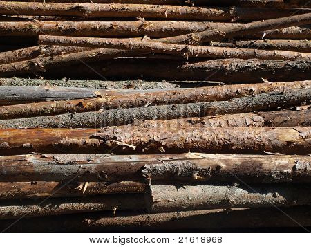 Blocks Of Wood At The Stake As A Background