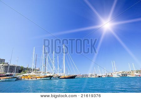 Amazing  Yachts At Coast Aegean Sea .bodrum City In The Turkey.