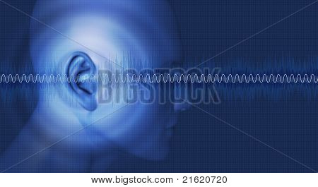 Listening, acoustics, Sound waves passing through an ear