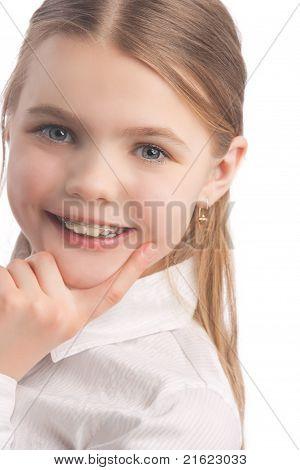 Little Girl Wearing Teeth Braces