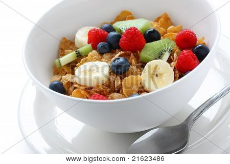 breakfast cereal with fresh fruits(strawberries,kiwi fruit and banana)