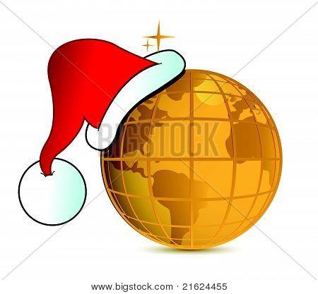 Santa's hat and golden globe illustration design.