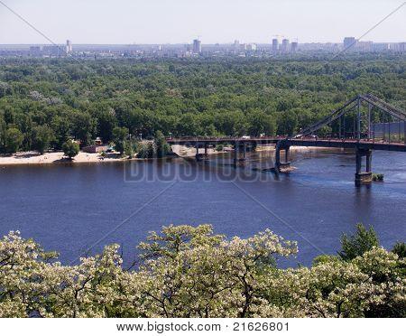 The bridge across the Dnieper River, Kiev