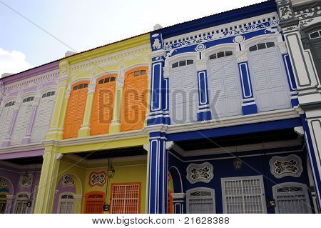 Colorful houses on city street