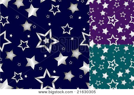 Seamless Silver Star Pattern