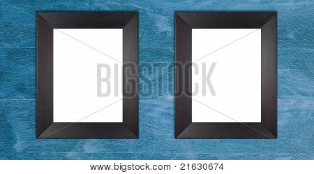 Two Blank Wooden Black Frames
