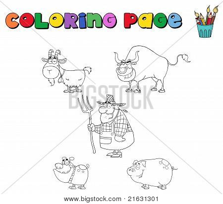 Coloring page with farm animals and farmer