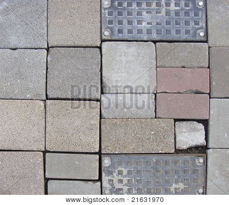 Mixed Metal And Color Stone Tile Surface