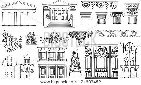 Постер, плакат: Архитектура и украшения векторный набор, холст на подрамнике