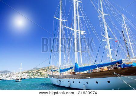 Wonderful Yacht In Blue Bay Near Bodrum Town.