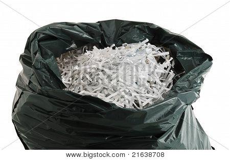 Plastic Bag Filled With Shredded Paper
