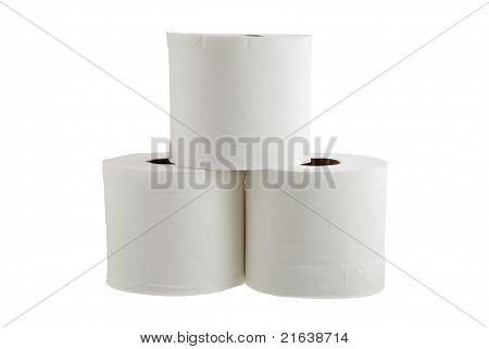Three Rolls Of Toilet Paper Formed In Pyramid
