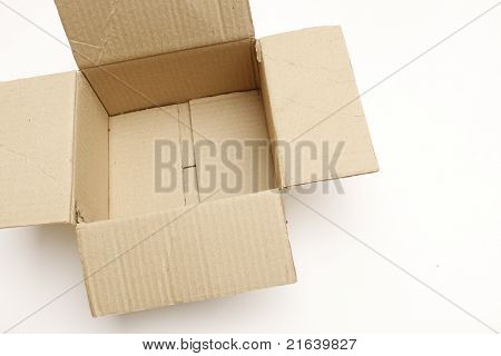 Open And Empty Cardboard Box Isolated On A White Background