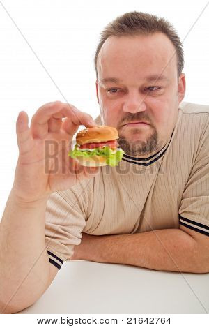 Man Not Happy About The Size Of His Hamburger - Closeup