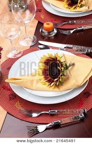 Fall Theme Dinner Table Set