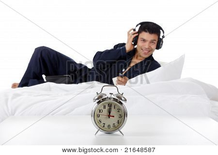 Nepalese Man In Pajamas, Clock