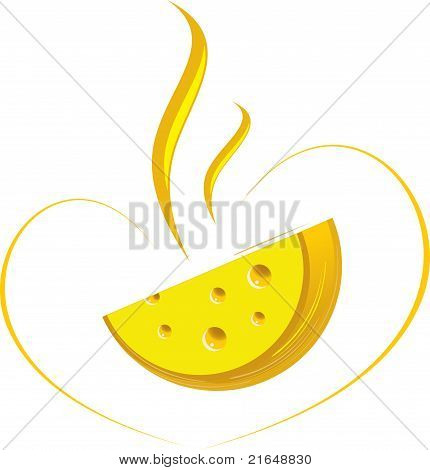 Flavored cheese, vector illustration