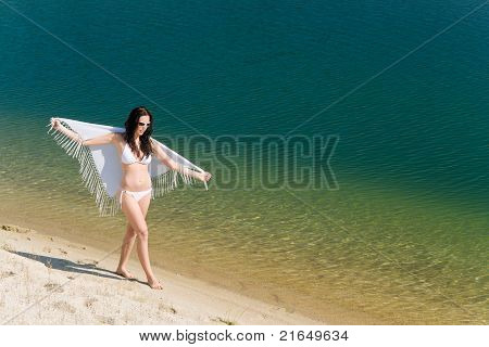 Summer Young Woman On Seashore In Bikini