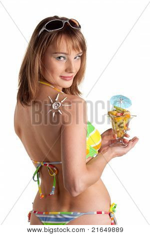 ?oung Woman In Bikini With Fruit Salad