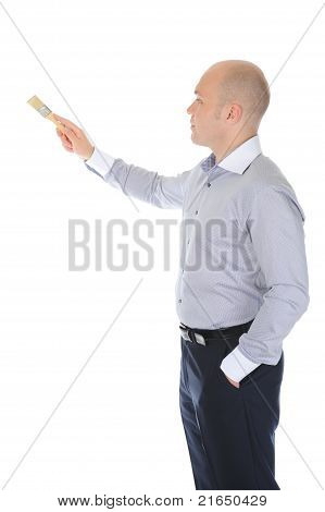 businessman with a brush in his hand