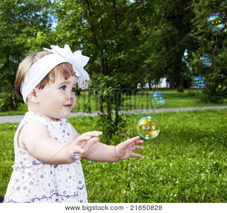 girl with soap bubble