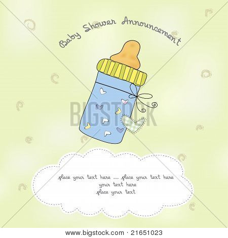 baby shower card with bottle milk