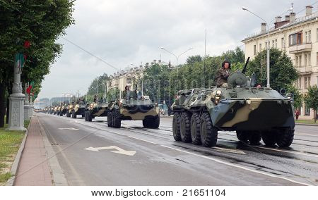 Military vehicles marching through the city center of Minsk, Belarus