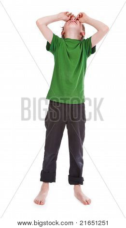Boy Crying Against White Background
