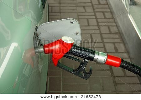 Red Gas Station Nozzle