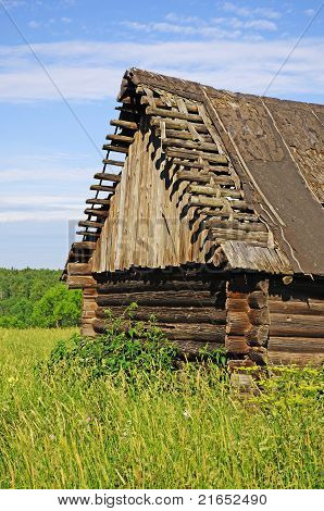 Old Abandoned Destroyed Wooden Barn