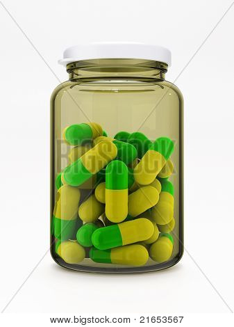 Green-yellow Pills In Medical Bottle On White