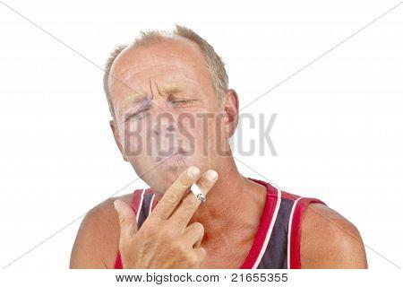 Man enjoying his cigarette