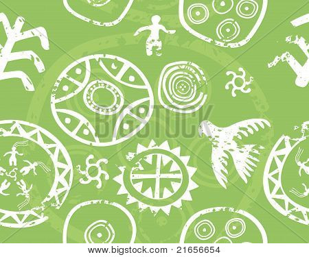 Tribal Seamless Vector Texture - Immitation Of Ancient Rock Paintings (petroglyph)