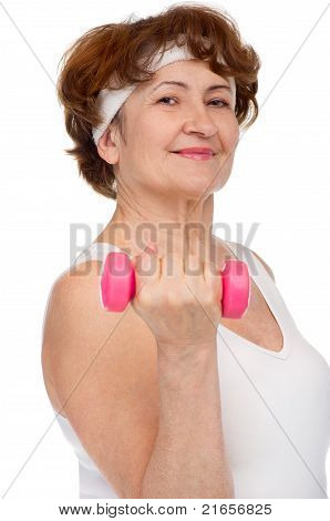 senior woman with dumbells