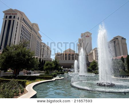 A View Of The Caesars Palace Fountains