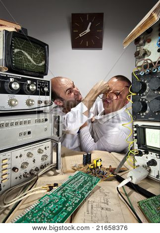 Two Funny Scientists Fighting At Laboratory
