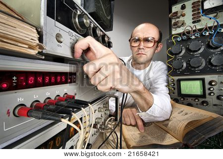 Scientist At Vintage Laboratory