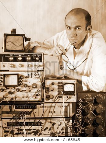 Pensive Scientist At Vintage Laboratory