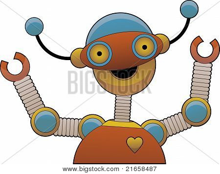 Cheering Bright Colorful Shiny Robot Smiling