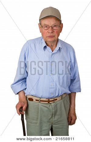 Male Senior With Walking Stick