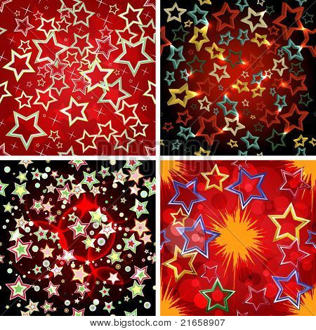 Set of 4 seamless stars patterns.