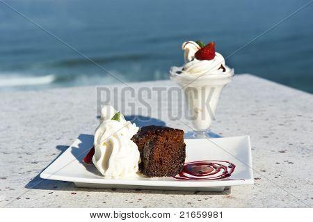 Warm Chocolate Pudding And Ice Cream
