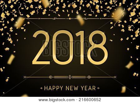 happy new year 2018 black premium background greeting card template 2018 with golden glitter confetti