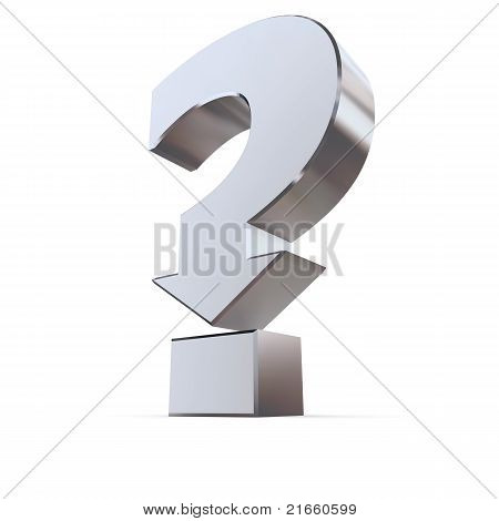Shiny Metallic Question Mark Symbol - Arrow Down