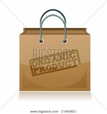 organic product brown paper bag illustration